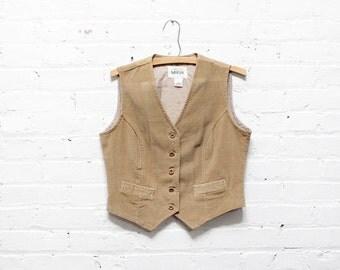 70s Corduroy Vest M • Tan Vest • Boho Vest • Womens Waistcoat  | T335