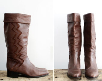 Zig Zag Brown Boots 8 • Suede and Leather Tall Boots • Italian Made Leather Knee High Boots | SH222
