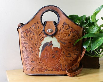 Horse Tooled Leather Bag • Convertible Bag • Large Leather Purse • 60s Horse Purse • Tooled Leather Crossbody Bag • Boho Leather Bag | B552