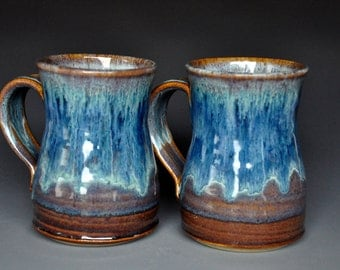 Pair of Tall Blue Pottery Mug Ceramic Beer Stein Handmade Stoneware Mug