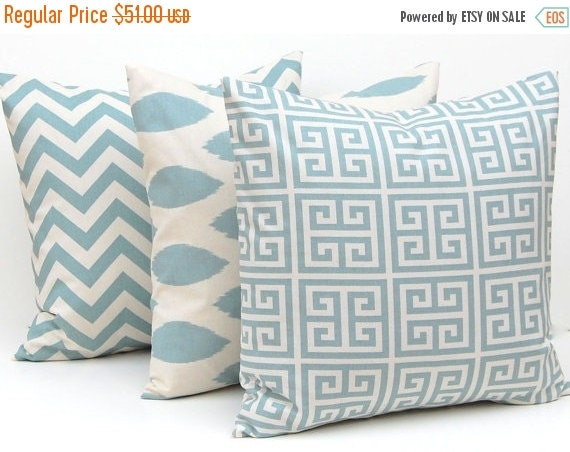 SALE Decorative Throw Pillow Covers Blue on Natural Greek Key, Chevron and Ikat Pillow Covers 20 x 20 Inches Set of Three