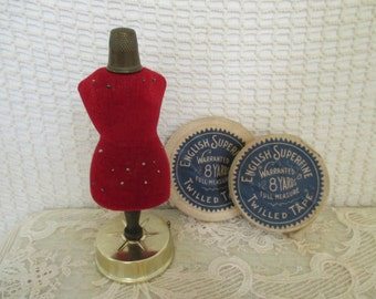 Vintage Mannequin Dress Form Pincushion - Tape Measure and Thimble - Sewing Quilting Studio Decor