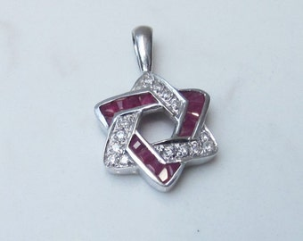Estate 14k Solid White Gold, Diamond and Ruby Star of David Pendant