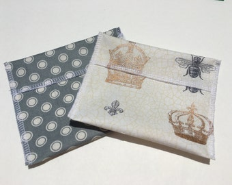 Reusable Snack Bag Set of Two Gold Crown Gray Dots Eco Friendly