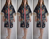 Vintage 1940s Black Silk Asian Chinese Jacket Robe With Gorgeous Hand Embroidery Floral Eagles 44 Inch Chest
