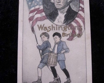 George Washington Vintage Birthday Postcard Circa 1910