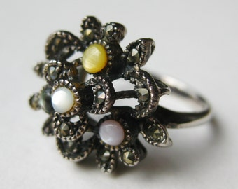 Vintage Ring Jeweled Mother of Pearl Marcasite Art Deco Sterling Silver Ring size 7 1/2