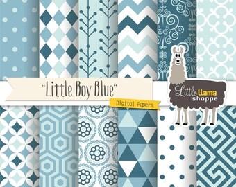 Blue Digital Paper Pack, Boy Digital Scrapbook Paper, Baby Blue Digital Backgrounds, Geometric Patterns, Commercial Use