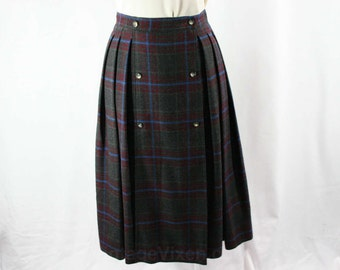Size 6 Gucci Skirt - Cashmere & Wool Blend - Classic Fall Preppie - Gray Blue Maroon Plaid - 80s 90s - Made in Italy - Waist 25.5 - 25952