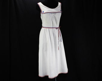 XL Fourth of July 1950s Sun Dress - Size 16 - Deadstock 50s Summer Dress - Patriotic Red White & Blue - Bust 42.5 - Waist to 36 - 37548-2