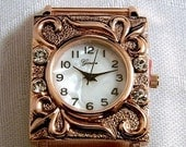 ON SALE Watch Face, Interchangeable, Geneva, Copper with Rhinestones, Stainless Steel Back