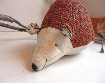 Morris the Hedgehog - 5 Inch Plush Hedgehog Made From Salvage and Re-Purposed Fabric