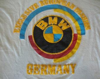 Vintage 80's BMW Germany Bright Colors White Puff Print thin T Shirt M