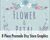 Premade Customized Etsy Shop Graphics- Banner, Shop Icon, Shop Profile, Custom Listing - Light Blue, Flowers, Wreath, White, Pink
