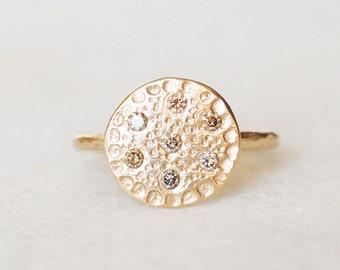 Diamond Disc Ring - 14k Gold Flower Center Ring - Natural Brown Diamond Disc Ring
