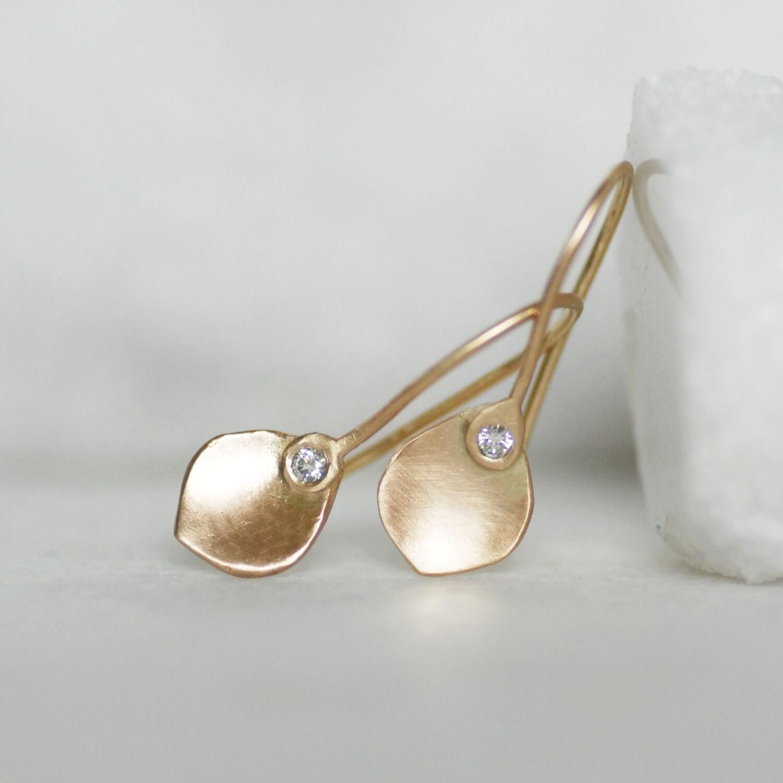 Tiny Diamond Gold Petal Earrings Small Gold Dangle Earrings