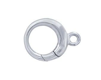 Sterling Silver Round Push Clasp with Ring