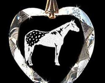 Appaloosa Horse Jewelry Hand Etched  Austrian Crystal  Pendant - FREE Shipping US
