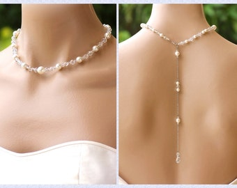 Pearl and Silver Crystal Back Drop Necklace, Bridal Backdrop Pearl Necklace, Bridesmaids Necklace, KITTY