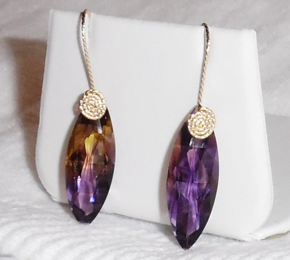 28 cts Natural Marquise CKB Bolivian Bi-Color Ametrine gemstones,  14kt yellow gold hook Earrings