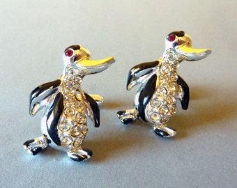 Vintage Penguin Rhinestone Cuff Links-On  Original  Card -Silver Tone Figural Cufflinks - Gift