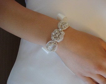 Rhinestone Bracelet for a Bride, Bridesmaids,  Flower Girls, or any Special Occasion, Double Sided Satin Ribbon - Ships in 3-5 Days