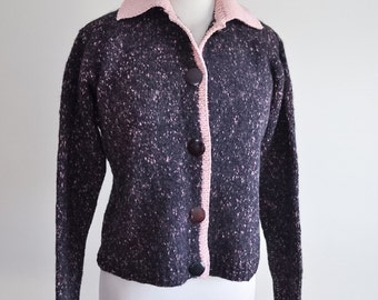 1950s 60s Grey pink fleck wool knit cardigan / 50s handknitted sweater - L
