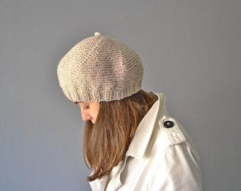 French Beret Women, Tam knit, knit ecru beret, Tam women, Hat beige winter, Hat knit