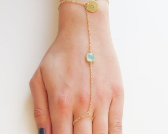 Personalized Ring Bracelets | Birthstone & Initial Slave Bracelet | Birthstone Ring Bracelet | Initial Slave Bracelet