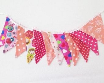 Sale - Fabric bunting banner , party banner , long fabric banner