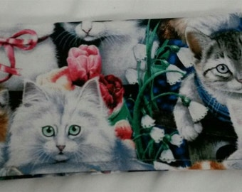 Checkbook Cover Coupon Holder Clutch Purse Billfold Ready-Made Multi Cats Print