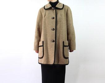 VINTAGE Winter Coat Brown Black Wool
