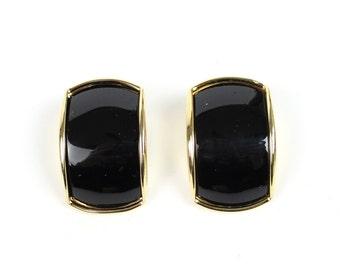VINTAGE 1980s Black Gold Earrings Pierced