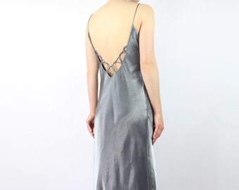VINTAGE Silver Backless Gown 1990s Long Dress