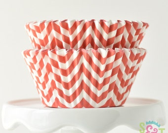Chevron Coral GREASEPROOF Cupcake Liners BakeBright Baking Cups   ~30 count