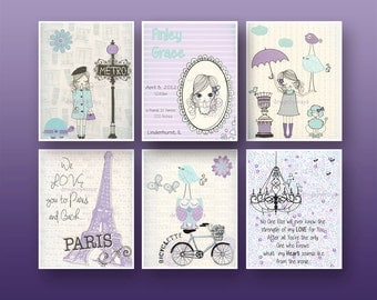 Paris Nursery Art - Baby Girl Nursery Wall Art - Paris Metro - Set Of 6 prints Shabby Chic Nursey - Vintage Style Nursery Purple & Aqua