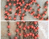 sale Handmade Linked Beaded Chain Swarovski gem crystal coral faux pearls  4mm Glass Beads