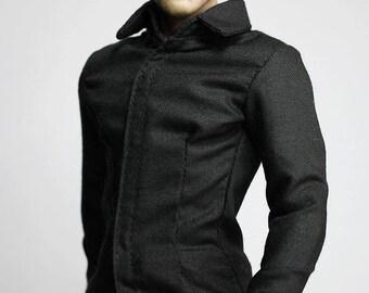 mc0244 Men's Fashion Design Black Shirt Slim Fit for 1/6 Action Figure (Shirt ONLY)