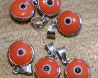 Vintage Sterling Silver and Glass Mati Pendant Evil Eye Protection Pendant Greece Greek Hand Made Orange