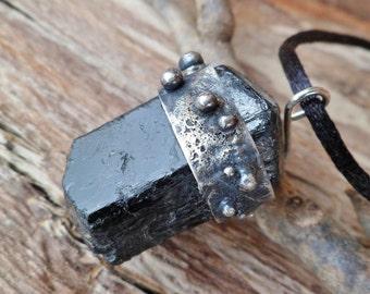 Rough Black Tourmaline Pendant. Tourmaline Necklace. Handmade Pendant. Black Tourmaline Properties. Sterling Silver And Black Tourmaline.