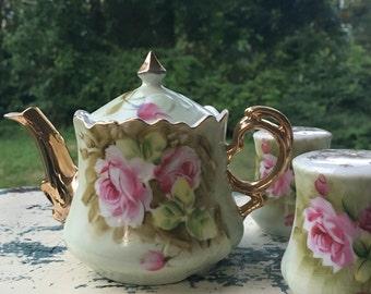 Lefton china, lefton, green heritage rose print, green heritage lefton, vintage salt and pepper shakers, vintage teapot, antique china