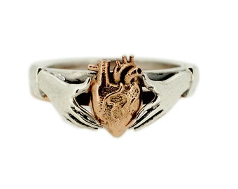 Anatomical Heart stacking Claddagh Ring in 9ct rose gold and 9ct white Gold