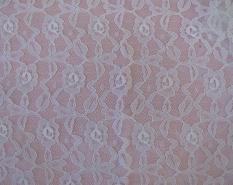 "Large Scrap of Vintage White Chantilly Lace 27"" by 22"" Bridal Seasonal Crafts"