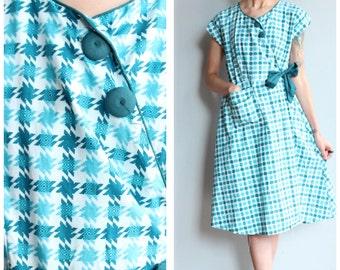 1950s Dress // Cotton Belle Wrap Dress // vintage 50s dress