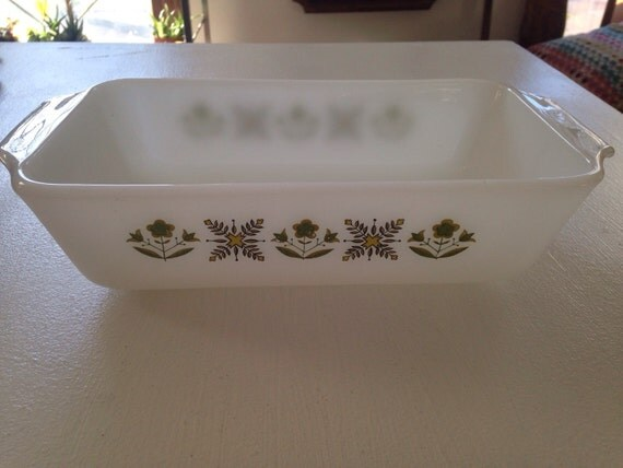 Fire King • Anchor Hocking • Green Meadow Loaf Pan • #441 • 1 quart • Vintage Kitchen • Mid Century Kitchen