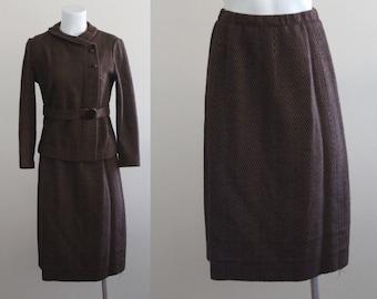 Vintage 1960s Herringbone Two Piece Suit / Vintage Two Piece Suit / Vintage Wool Two Piece Suit / Made in Denmark / Size Medium