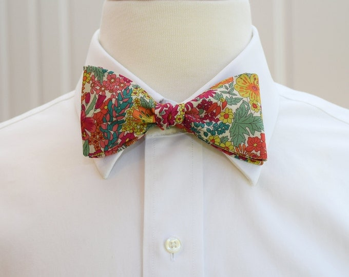 Mens Bow Tie, Liberty of London, red/green/multicolor floral Margaret Annie bow tie, groomsmen/groom bow tie, wedding bow tie, tux accessory