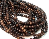 Tiger Ebony Wood Beads, 4mm - 5mm, Medium to Dark Brown, Banded, Round, Very Small, Natural Wood Beads, Full 16 Inch Strand - ID 1308-MD