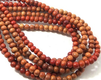 Narra Wood Bead, 4mm - 5mm, Red Orange, Round, Smooth, Natural Wood Beads, Small, 16 Inch Strand - ID 1652-RD