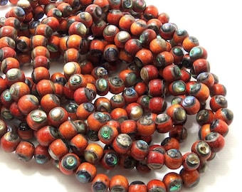 Sibucao Wood with Abalone Shell, 6mm - 7mm, Round, Natural Wood, Shell Inlaid Wood Bead, Smooth, Small, Half Strand, 35pcs - ID 2138